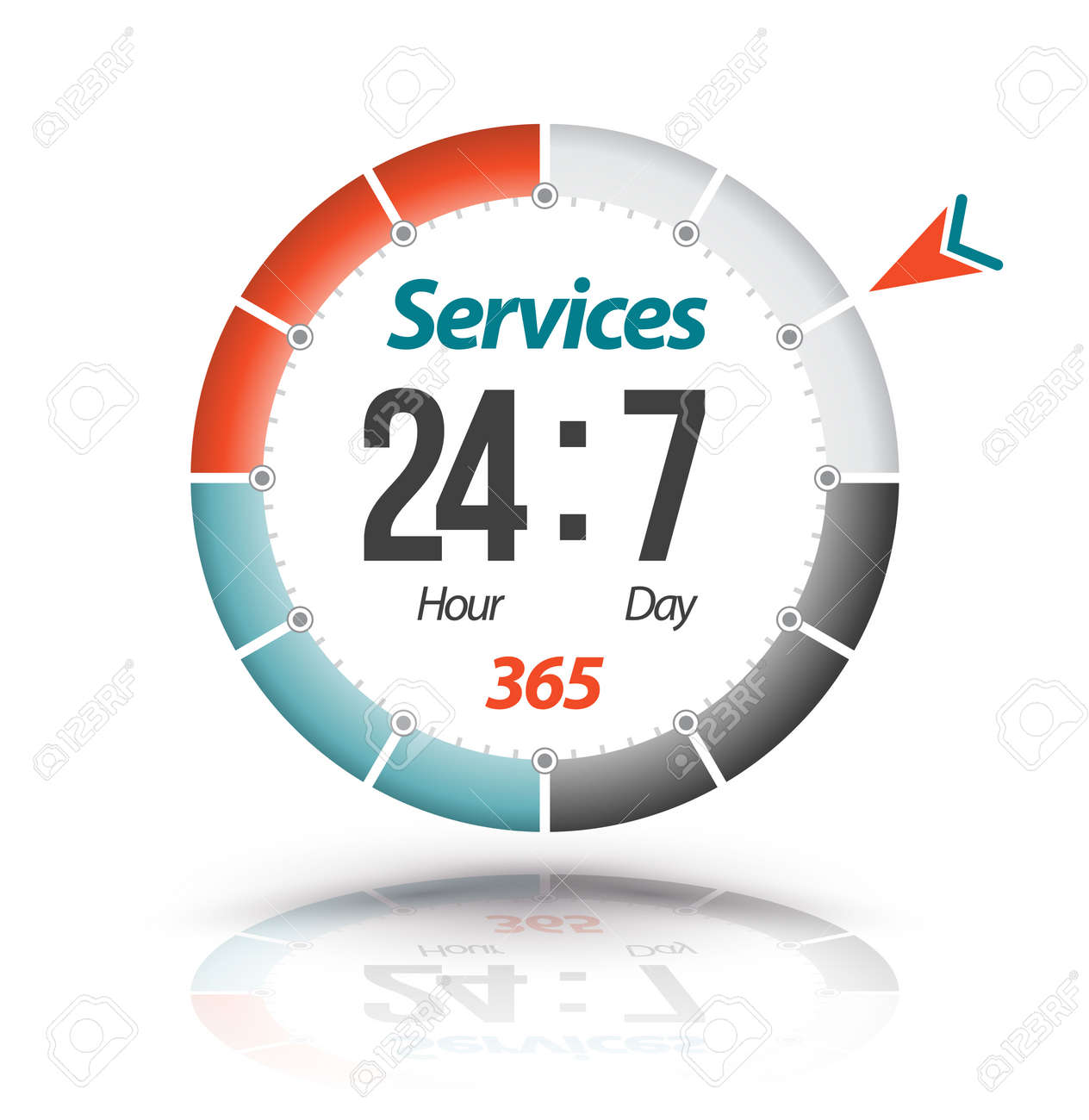 Circle banner Services 24hr 7day 365. Vector illustration. - 61413131