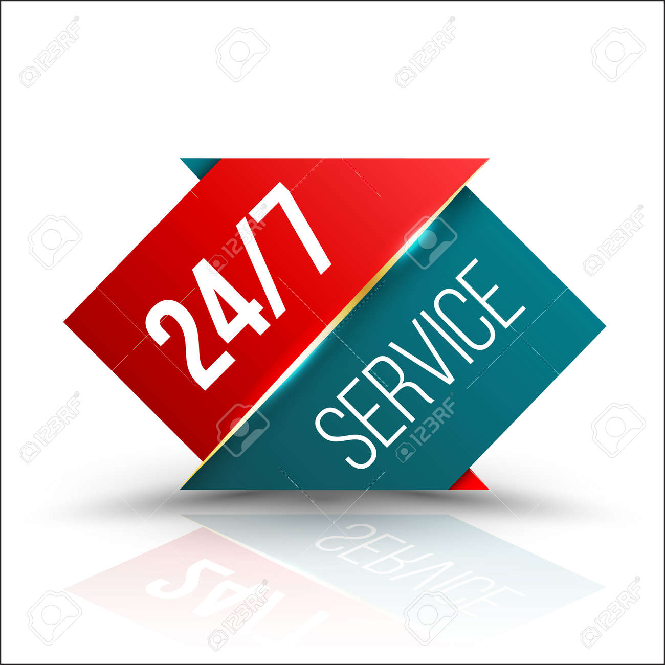 Arrow red green Service 24/7 Icon, Badge, Label or Sticker for Customer Service, Support or CRM Concept Isolated on White Background - 61413074