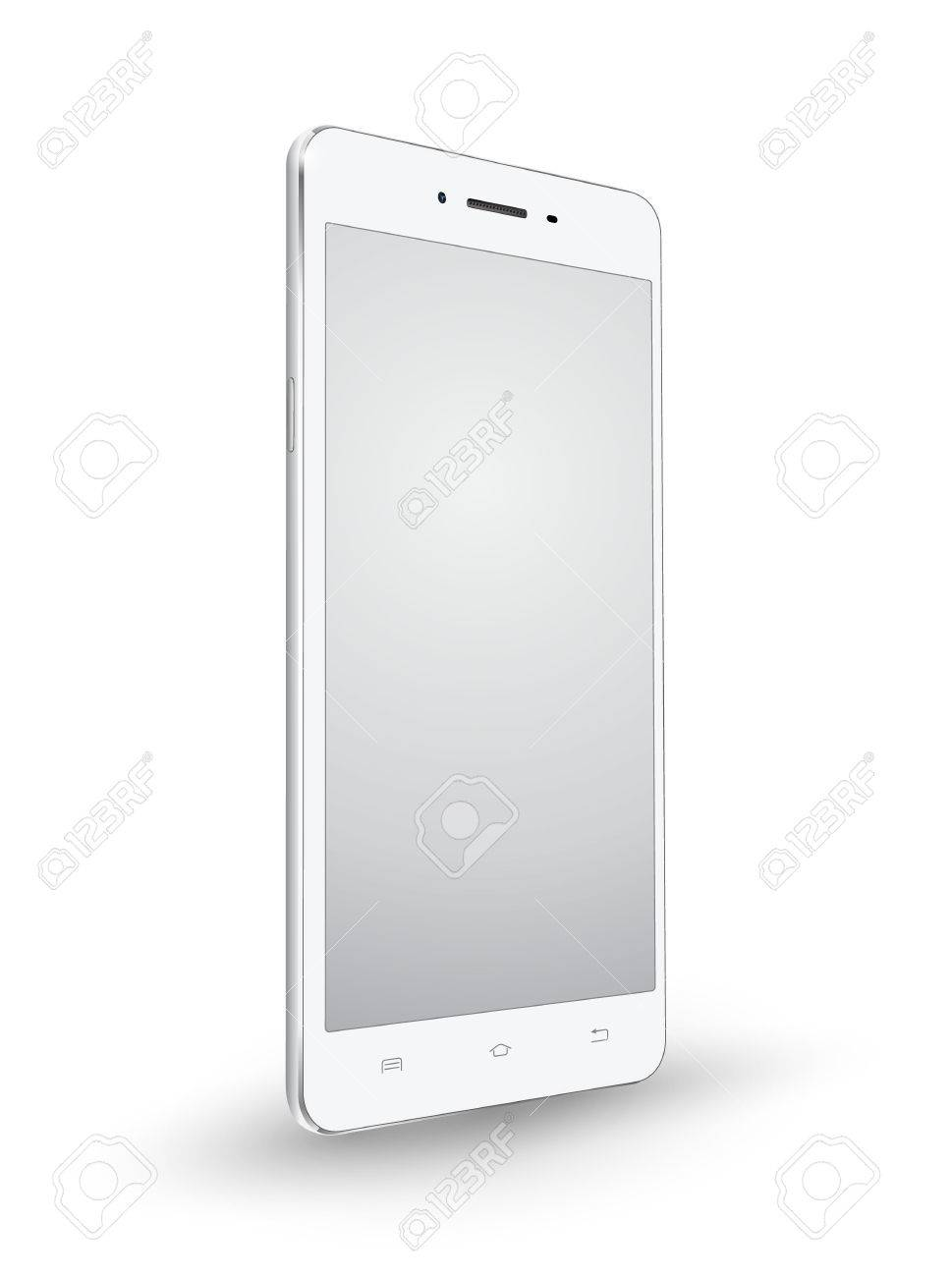 New realistic white smartphone mockups with blank screen isolated on white background. Vector illustration. for printing and web element, Game and application mockup. - 61413081
