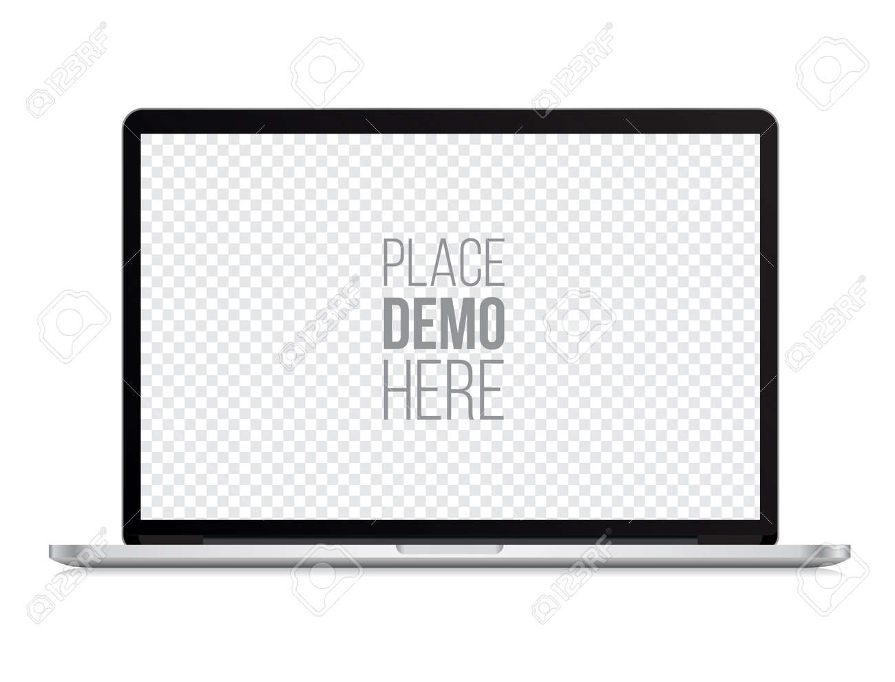 laptop front mockup isolated on the white background. Vector illustration. - 63594341