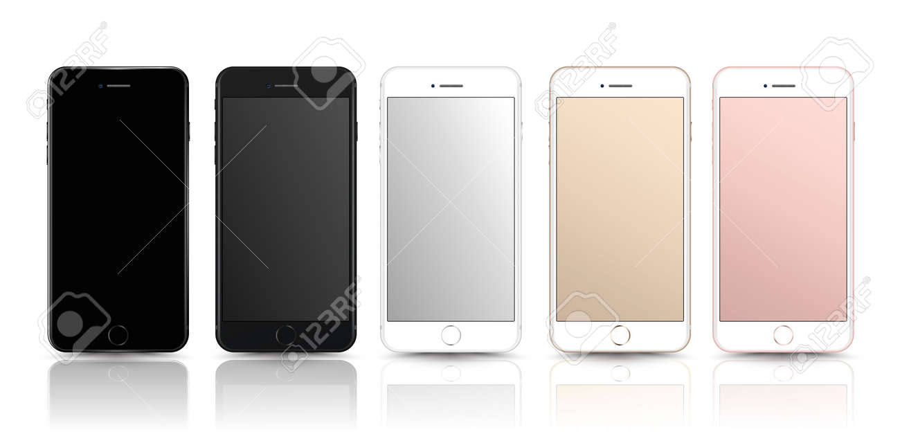 New realistic mobile phone smartphone collection mockups with blank screen isolated on white background. Vector illustration. for printing and web element, Game and application mockup. - 63594434
