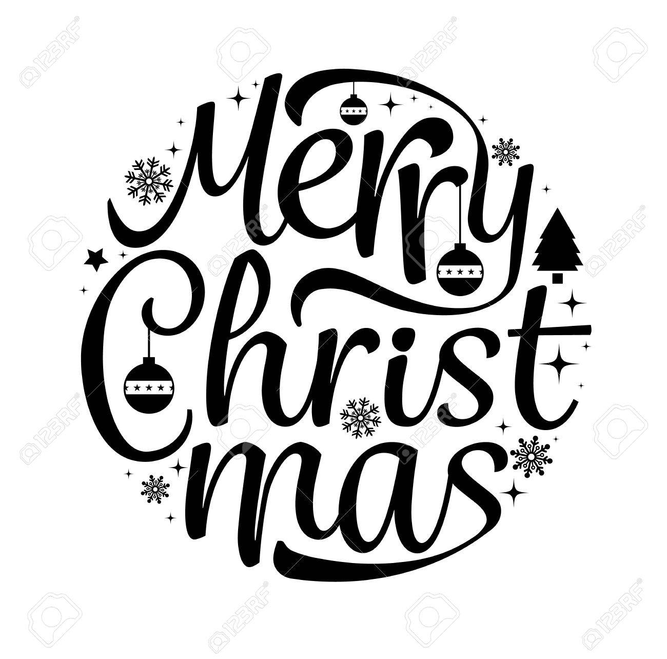 Merry Christmas Text Free Hand Design Isolated On White Background ...