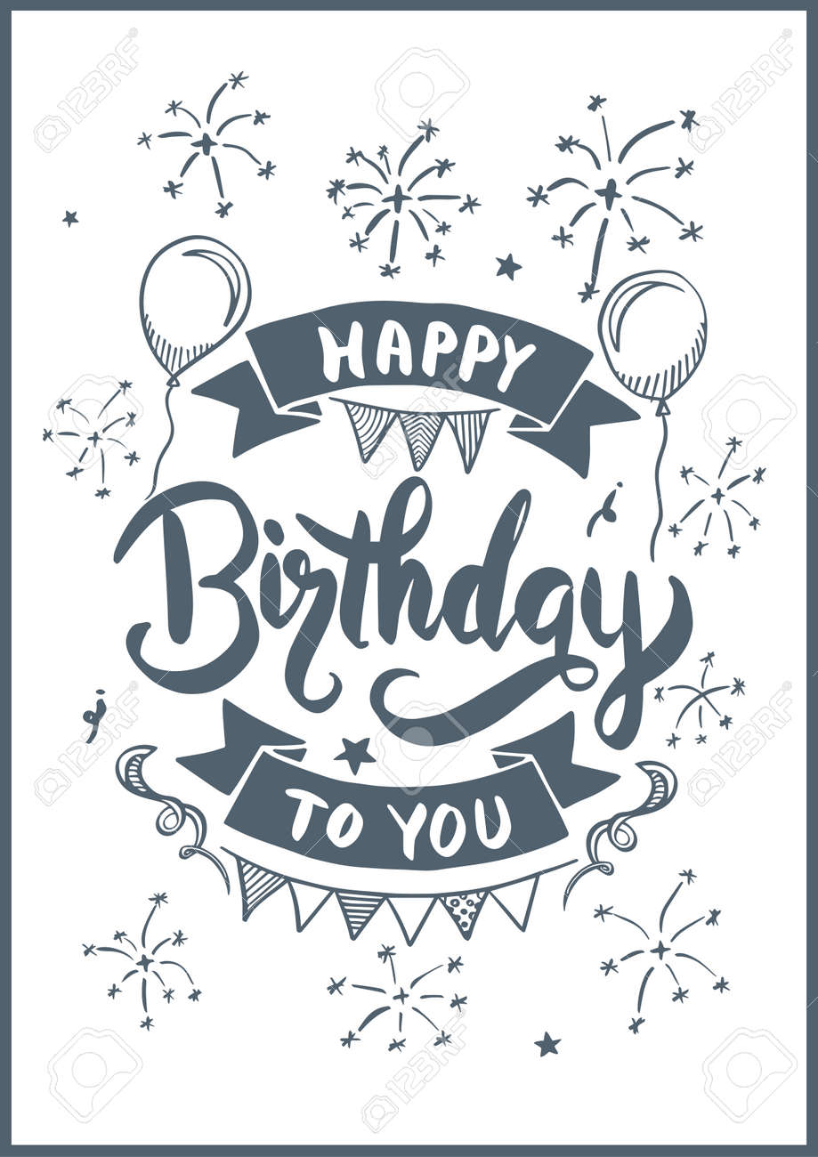 Happy Birthday To You Drawing Style For Birthday Card Vector
