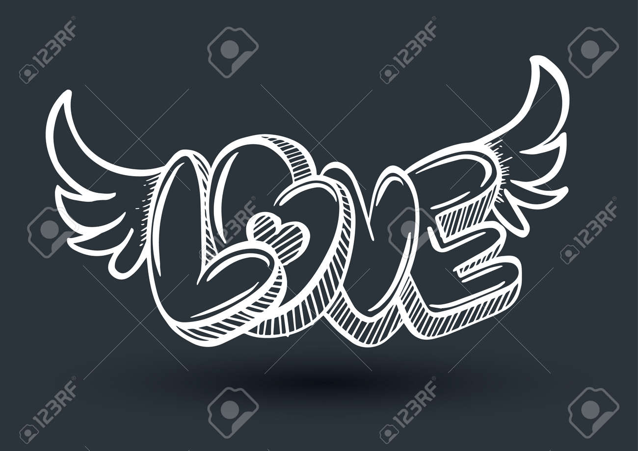 Love drawing 3d style with heart arrow vector illustration for love concept wedding and valentine