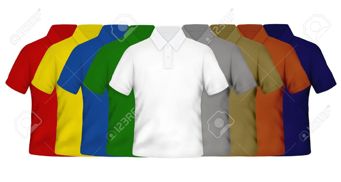 Color Polo Shirts On White Background Stock Photo Picture And