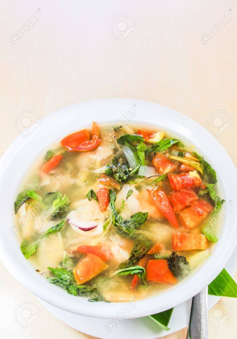 Thai food, spicy and sour seafood soup Stock Photo - 16268111
