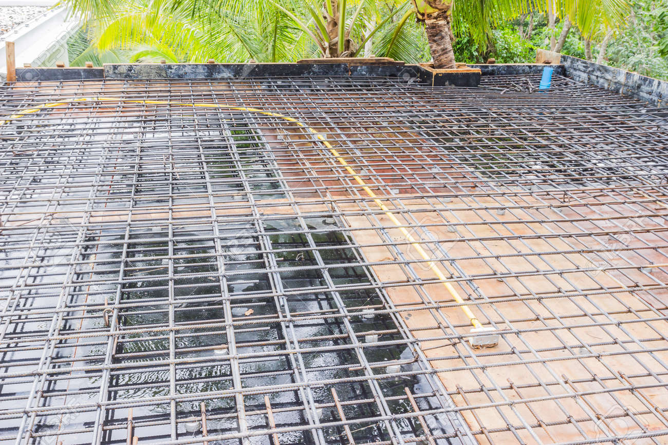 Construction Site Roof Slab With Reinforcement Bar On Formwork