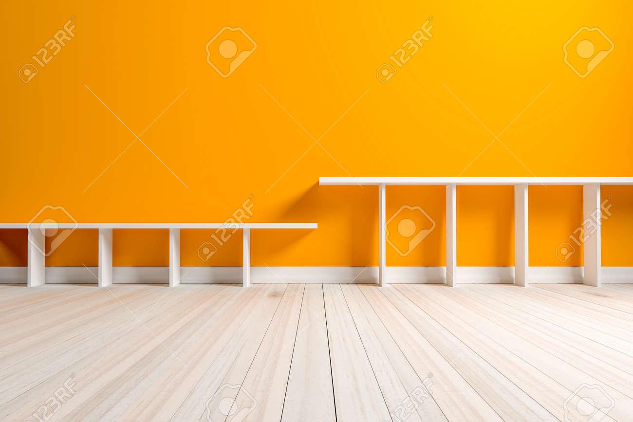 Empty chambre orange intérieure étagère blanche et plancher en bois, Pour  l\'affichage de vos produits. - Image 3D rendre