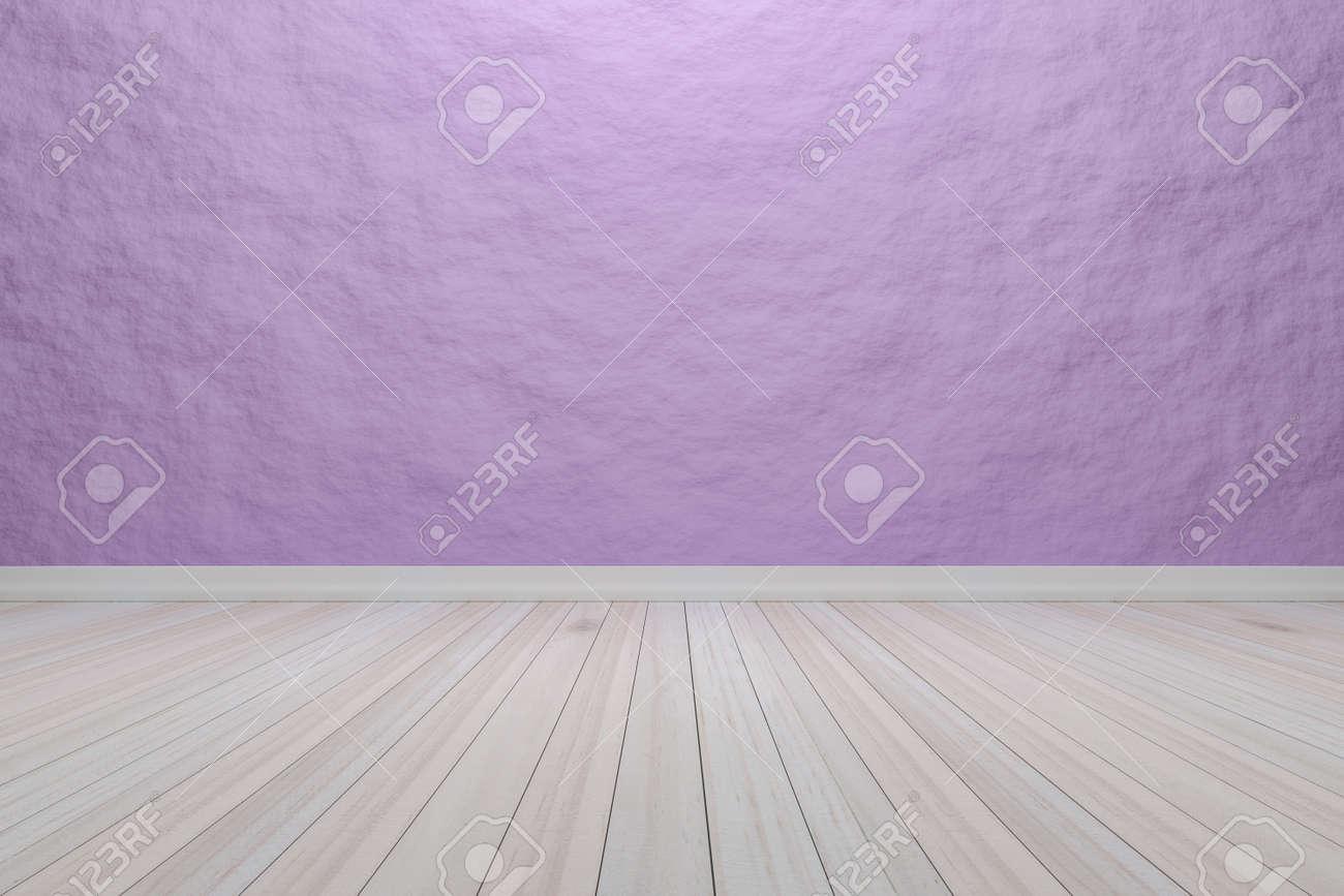 Vide chambre intérieure violet clair avec plancher en bois, Pour  l\'affichage de vos produits. - Image de rendu 3D.