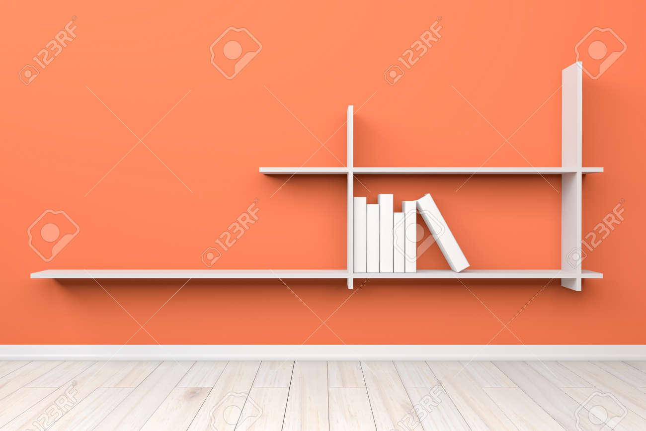 Intérieur Chambre Orange Clair étagère Vide Blanc Blanc Et Plancher ...