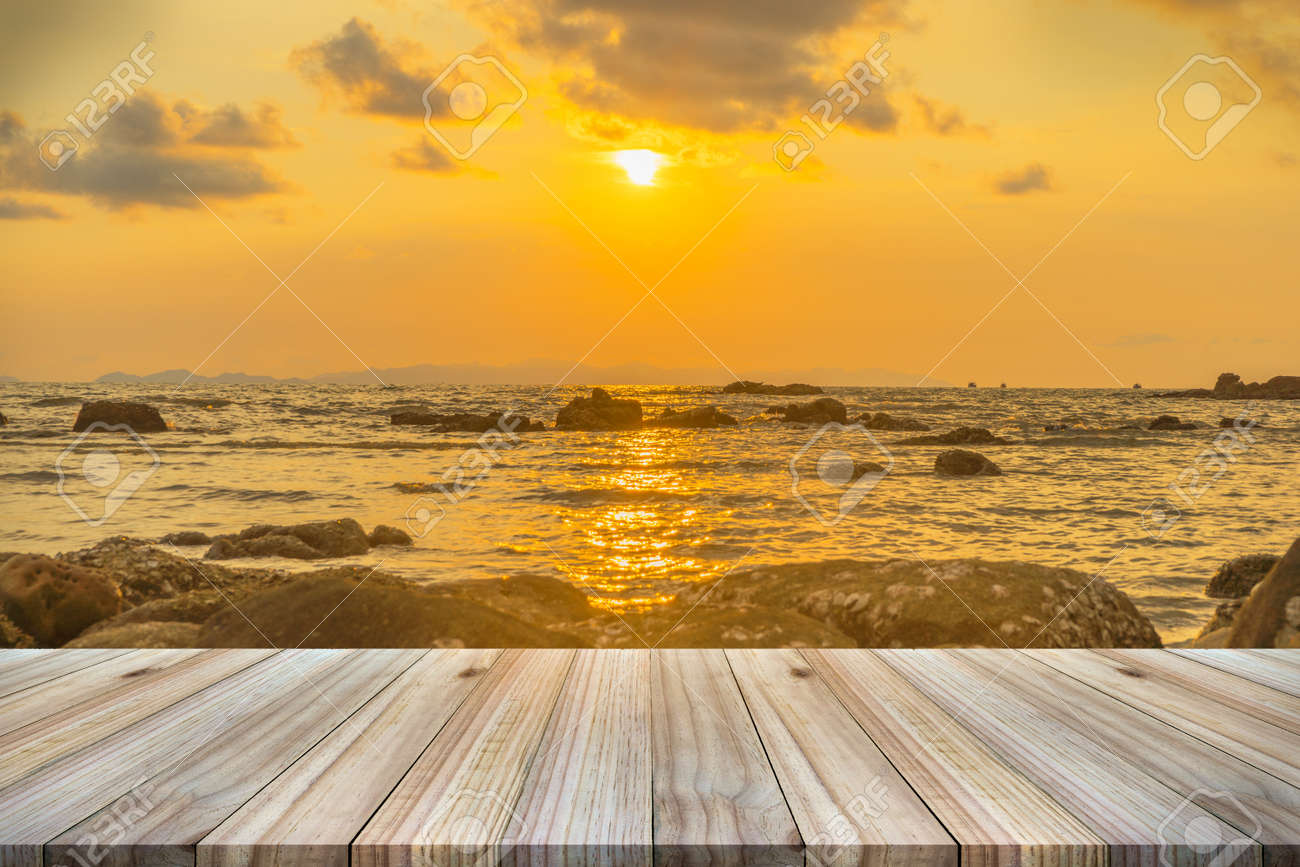 Empty wooden table or shelf wall with sunset or sunrise on sand beach background. For & Empty Wooden Table Or Shelf Wall With Sunset Or Sunrise On Sand ...