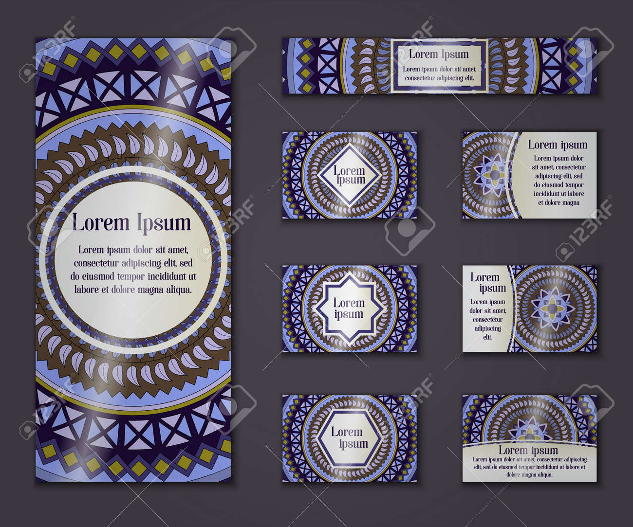 vector vintage business and invitation card set floral mandala