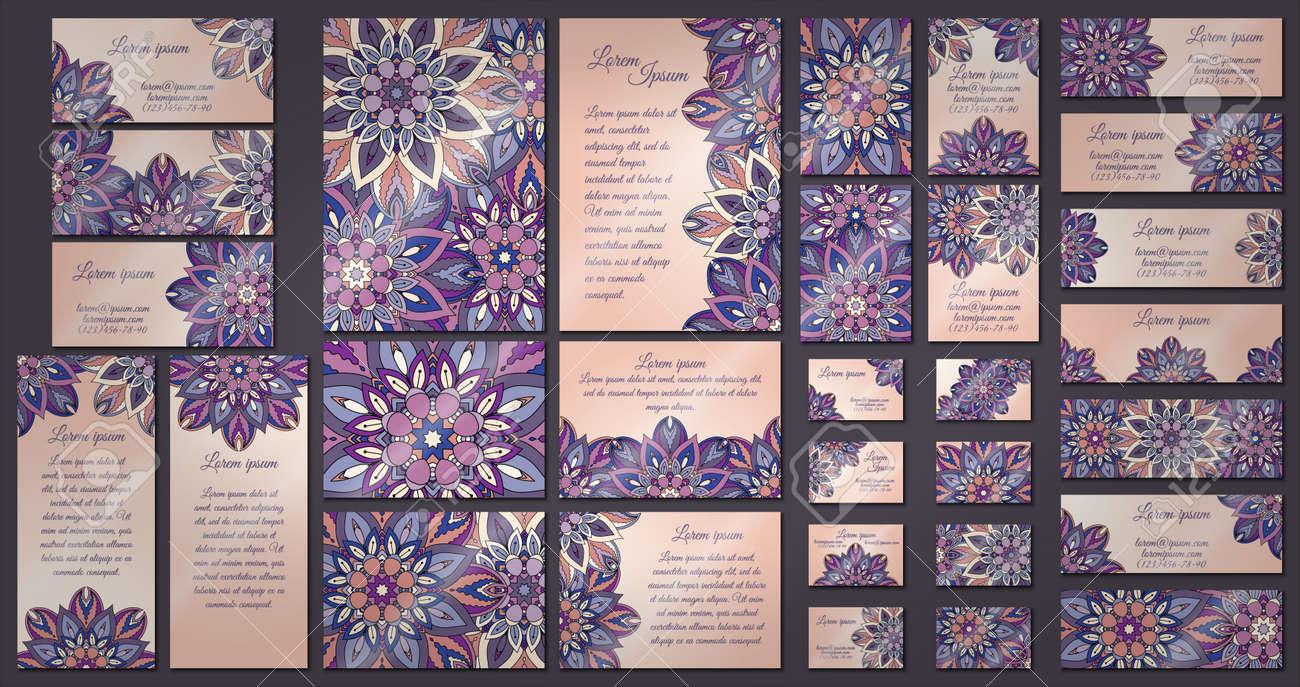 Empresariales Y De La Plantilla De Invitación Conjunto De Tarjetas Con El Ornamento De La Mandala Elementos Decorativos De La Vendimia Mano De Fondo