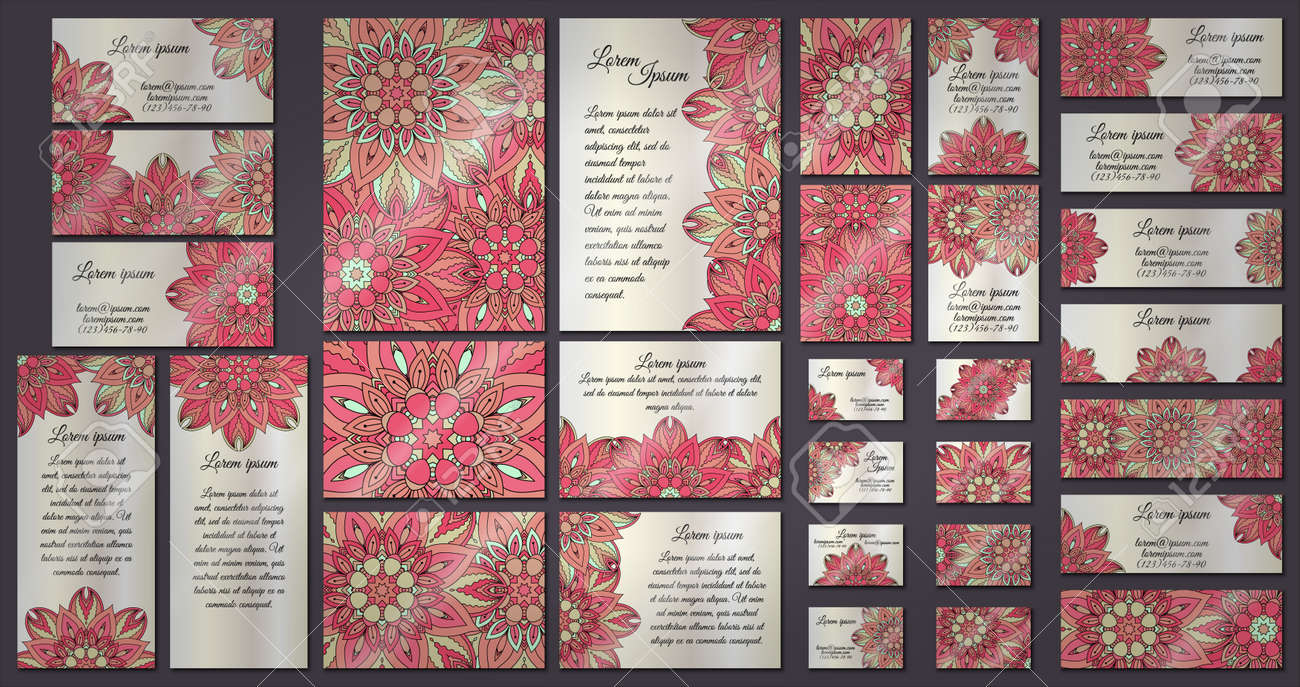 Business And Invitation Template Cards Set With Mandala Ornament ...