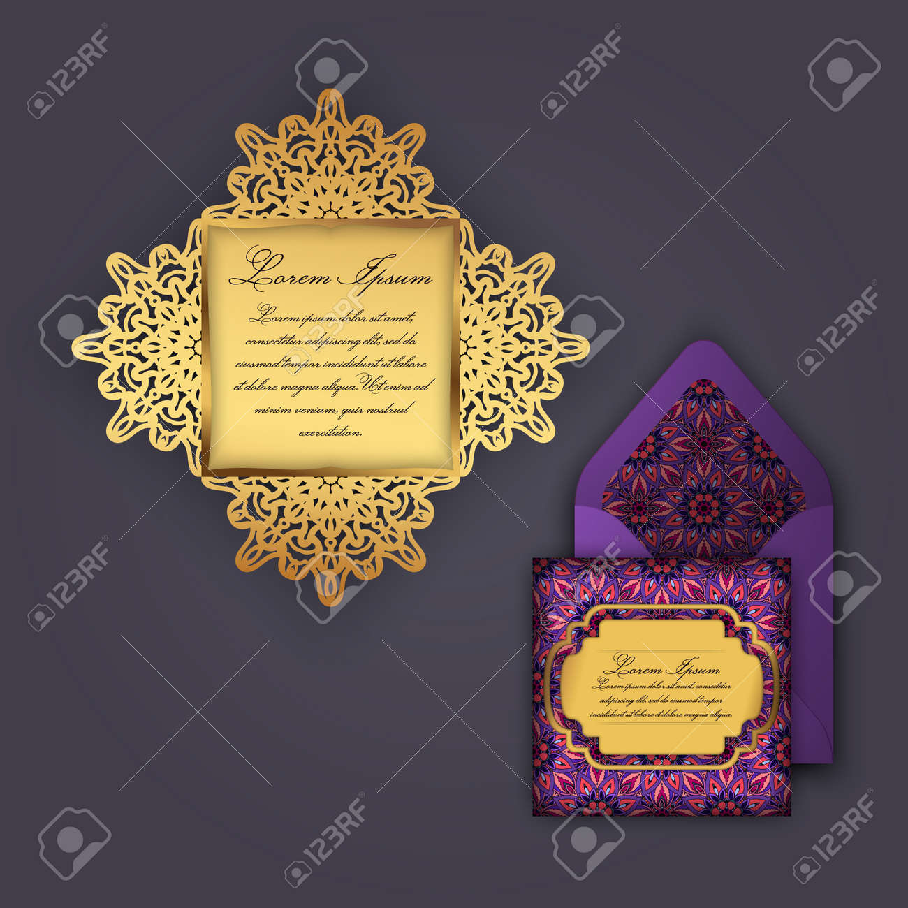 wedding invitation or greeting card with vintage floral ornament