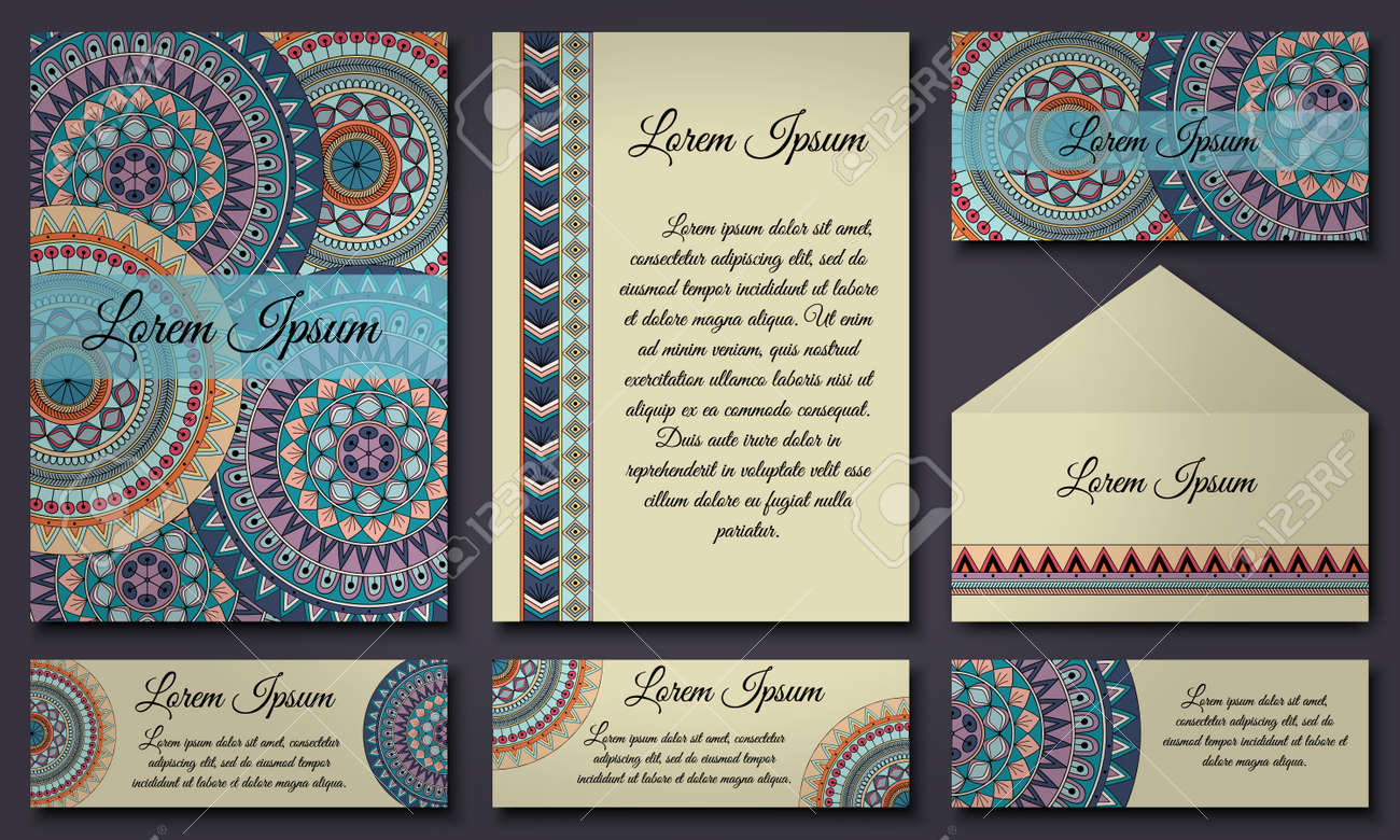 Set Of Invitation Templates With Colorful Tribal Mandalas. Ethnic.. Royalty  Free Cliparts, Vectors, And Stock Illustration. Image 67995237.