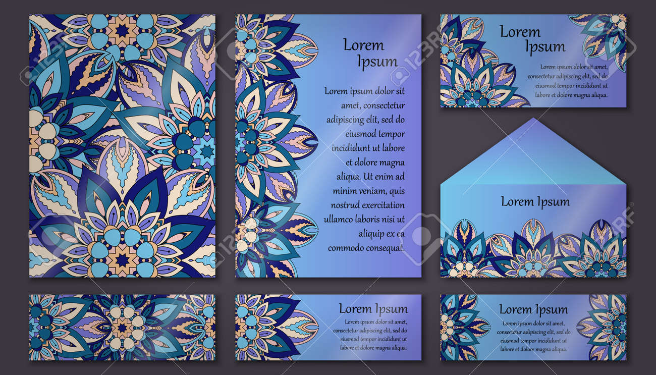 Set Of Invitation Templates With Colorful Tribal Mandalas. Ethnic.. Royalty  Free Cliparts, Vectors, And Stock Illustration. Image 68823961.