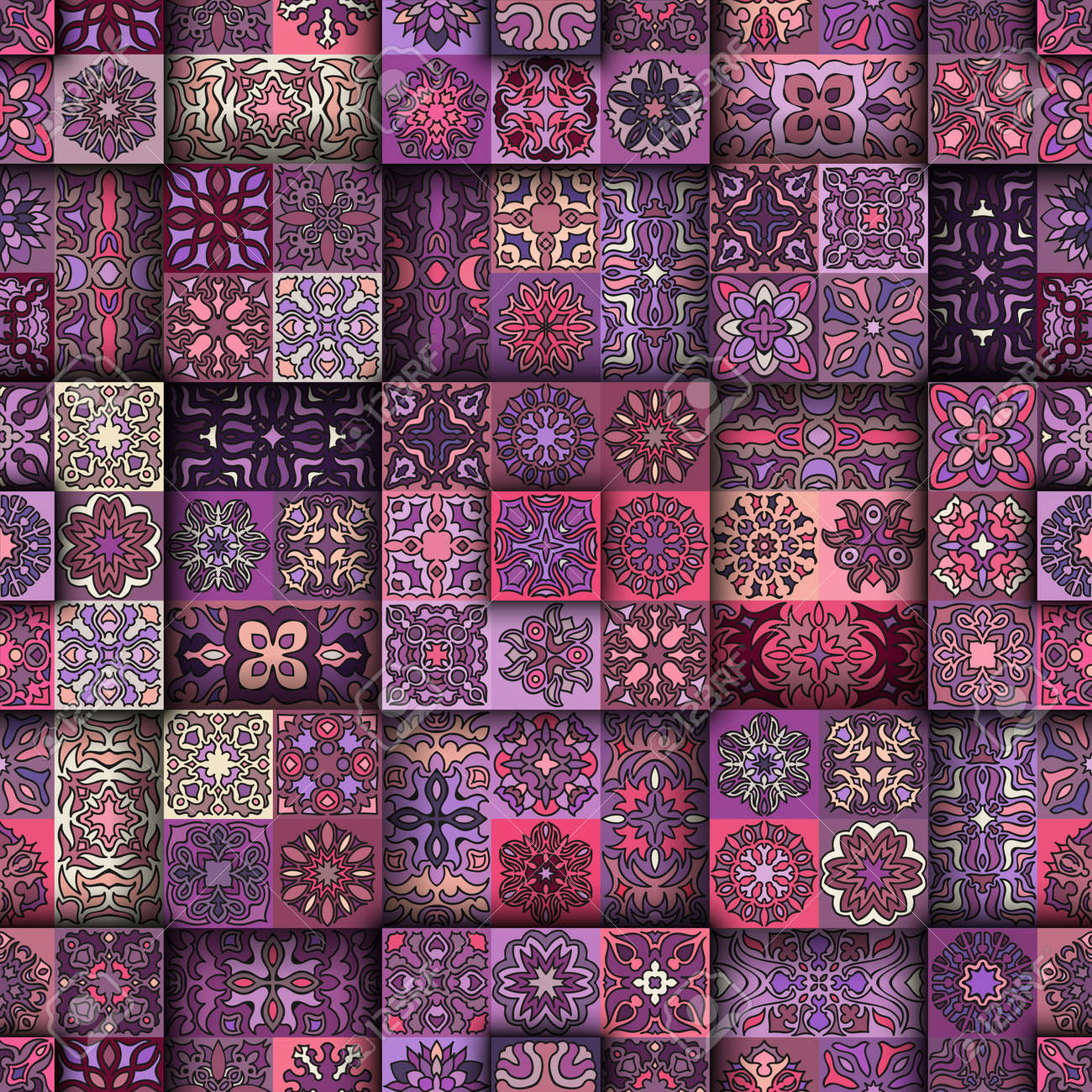 Colorful vintage seamless pattern with floral and mandala elements.Hand drawn background. Can be used for fabric, wallpaper, tile, wrapping, covers and carpet. Islam, Arabic, Indian, ottoman motifs. - 69590316