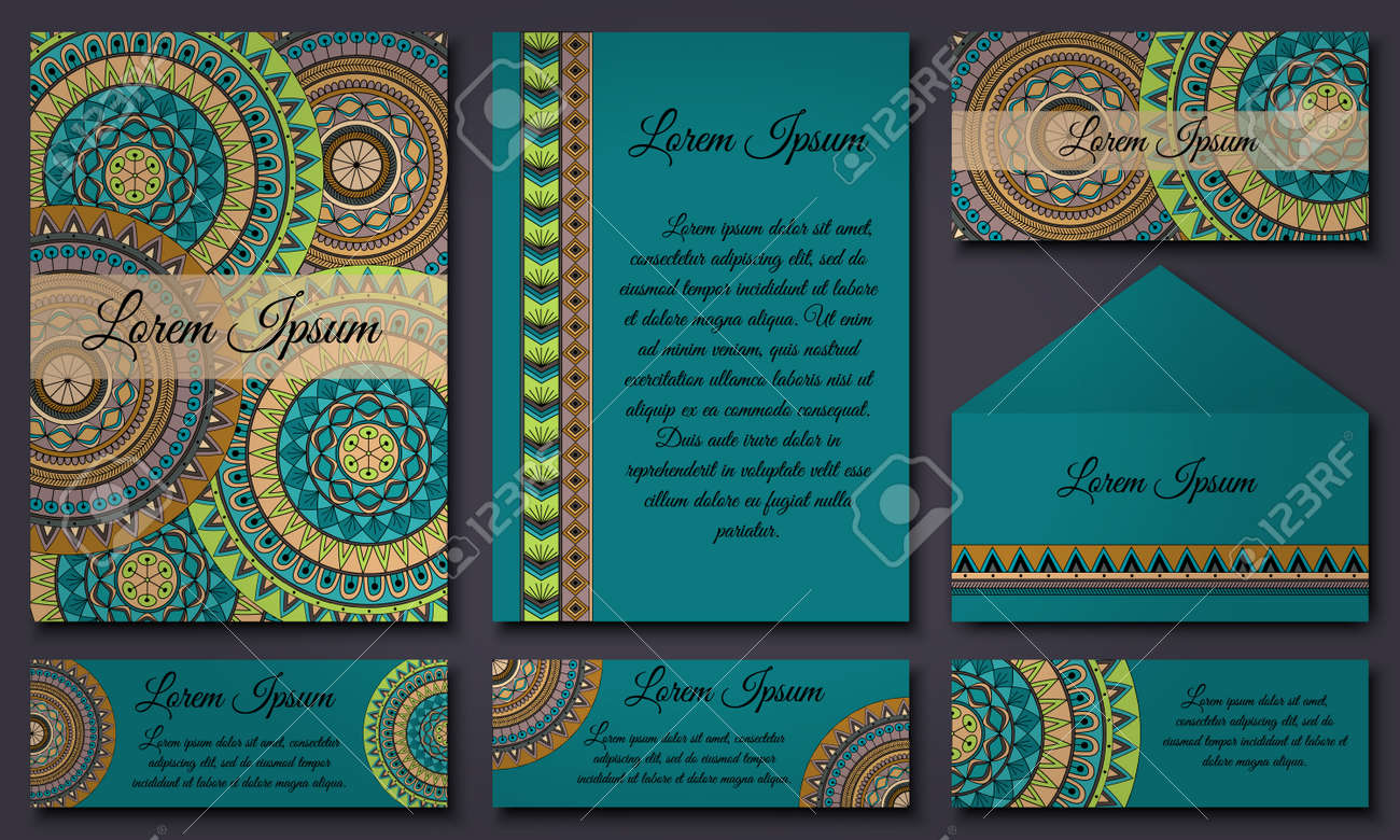 Set Of Invitation Templates With Colorful Tribal Mandalas. Ethnic.. Royalty  Free Cliparts, Vectors, And Stock Illustration. Image 72194391.