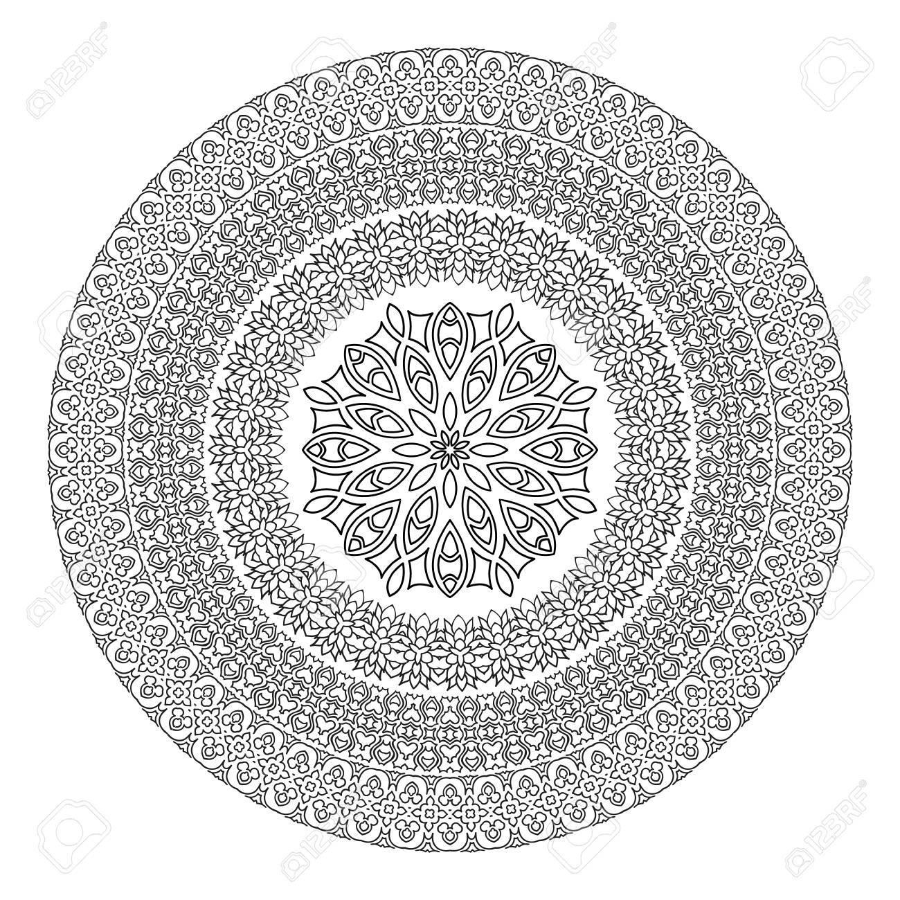 Mandala De La Flor Por Un Libro Para Colorear Blanco Y Negro étnica Henna Patternvintage Elementsislam Decorativa árabe Pakistán India