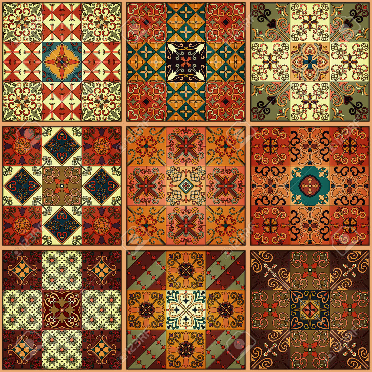 Seamless pattern with portuguese tiles in talavera style. Azulejo, moroccan, mexican ornaments - 80191870