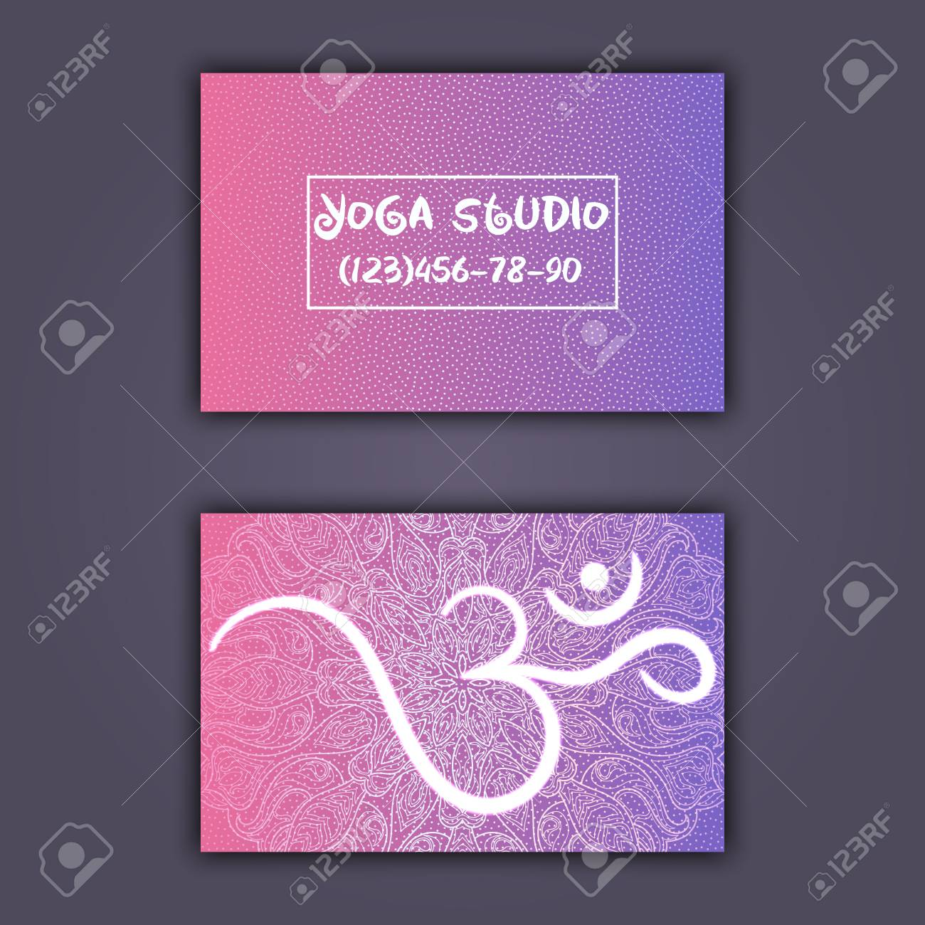 Business card for yoga studio or yoga instructor ethnic background business card for yoga studio or yoga instructor ethnic background with mandala ornament and ohm reheart Images