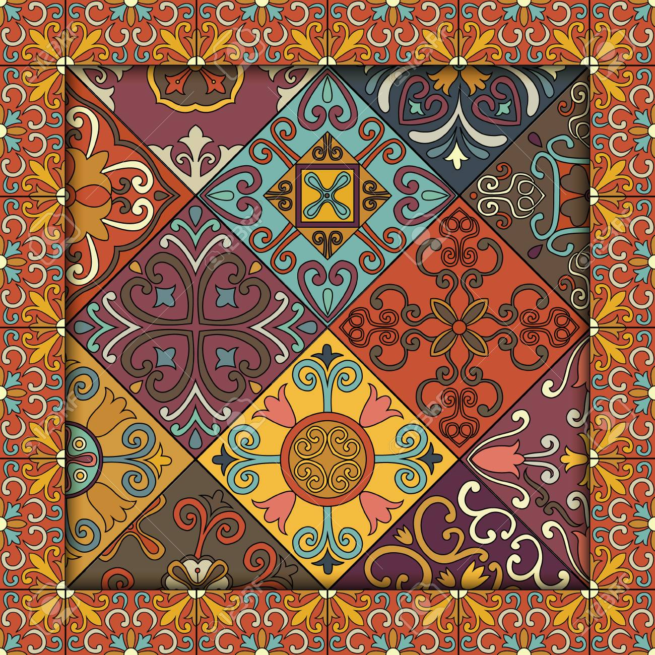 Seamless pattern with portuguese tiles in talavera style. Azulejo, moroccan, mexican ornaments - 83462690