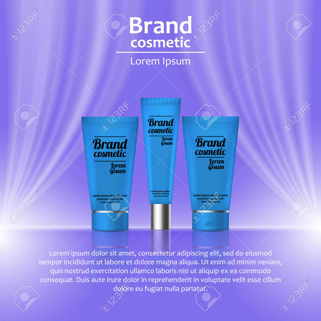 3d realistic cosmetic bottle ads template cosmetic brand