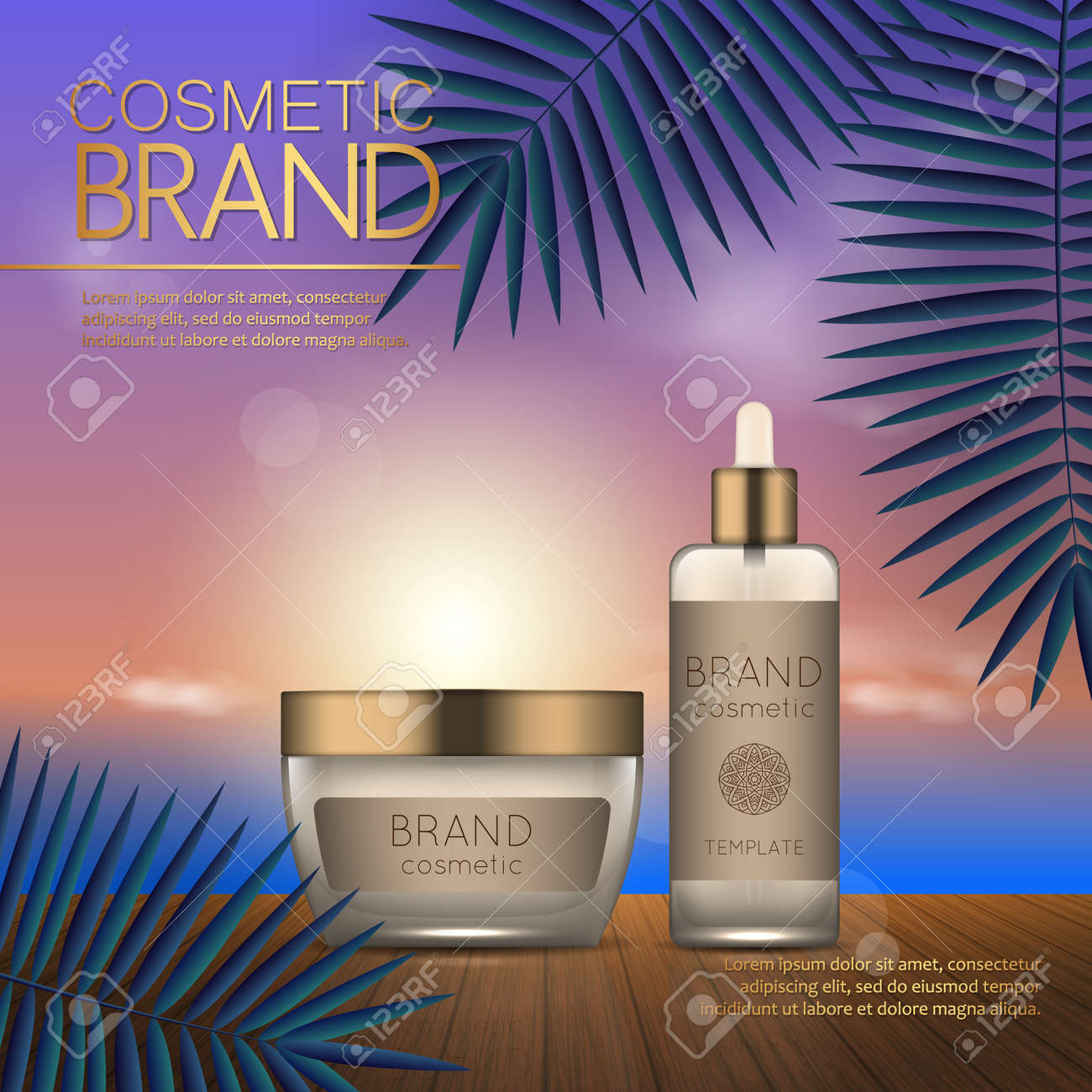 Summer cosmetic template on the sunset beach with exotic palm leaves background. Realistic 3D design - 104701300