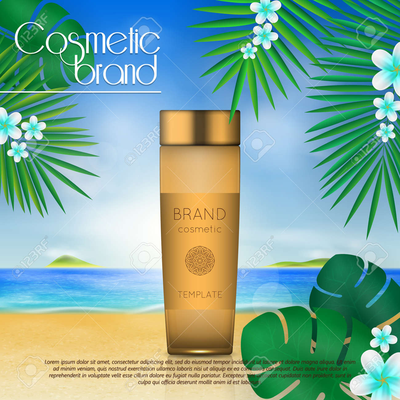 Summer sunblock cosmetic design template on beach background with exotic palm leaves. 3D realistic sun protection and sunscreen product ads - 104701302
