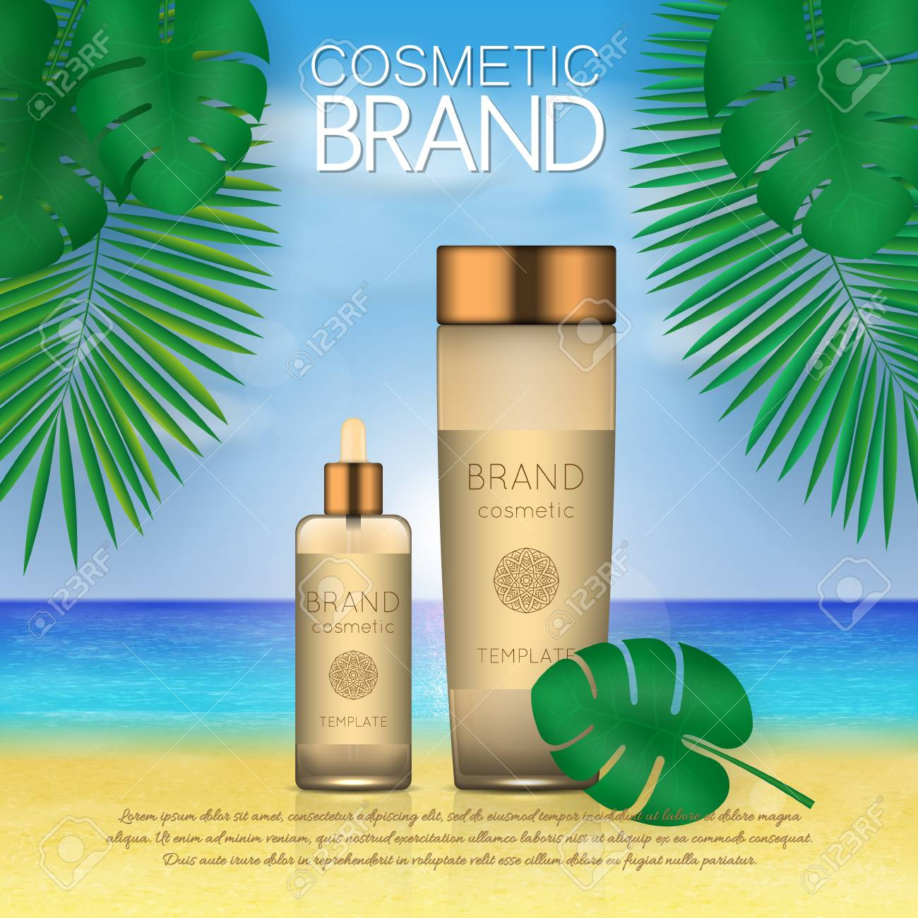 Summer sunblock cosmetic design template on beach background with exotic palm leaves. 3D realistic sun protection and sunscreen product ads - 104701304