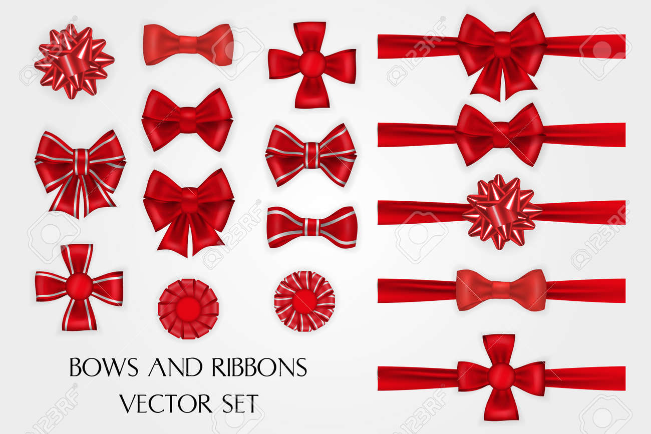 Realistic red silk bows and ribbons vector set - 114806836