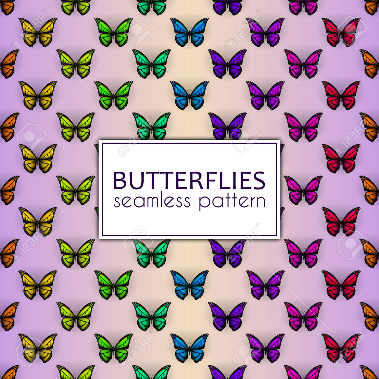 Colorful realistic butterflies seamless pattern. Vector illustration design - 114806839
