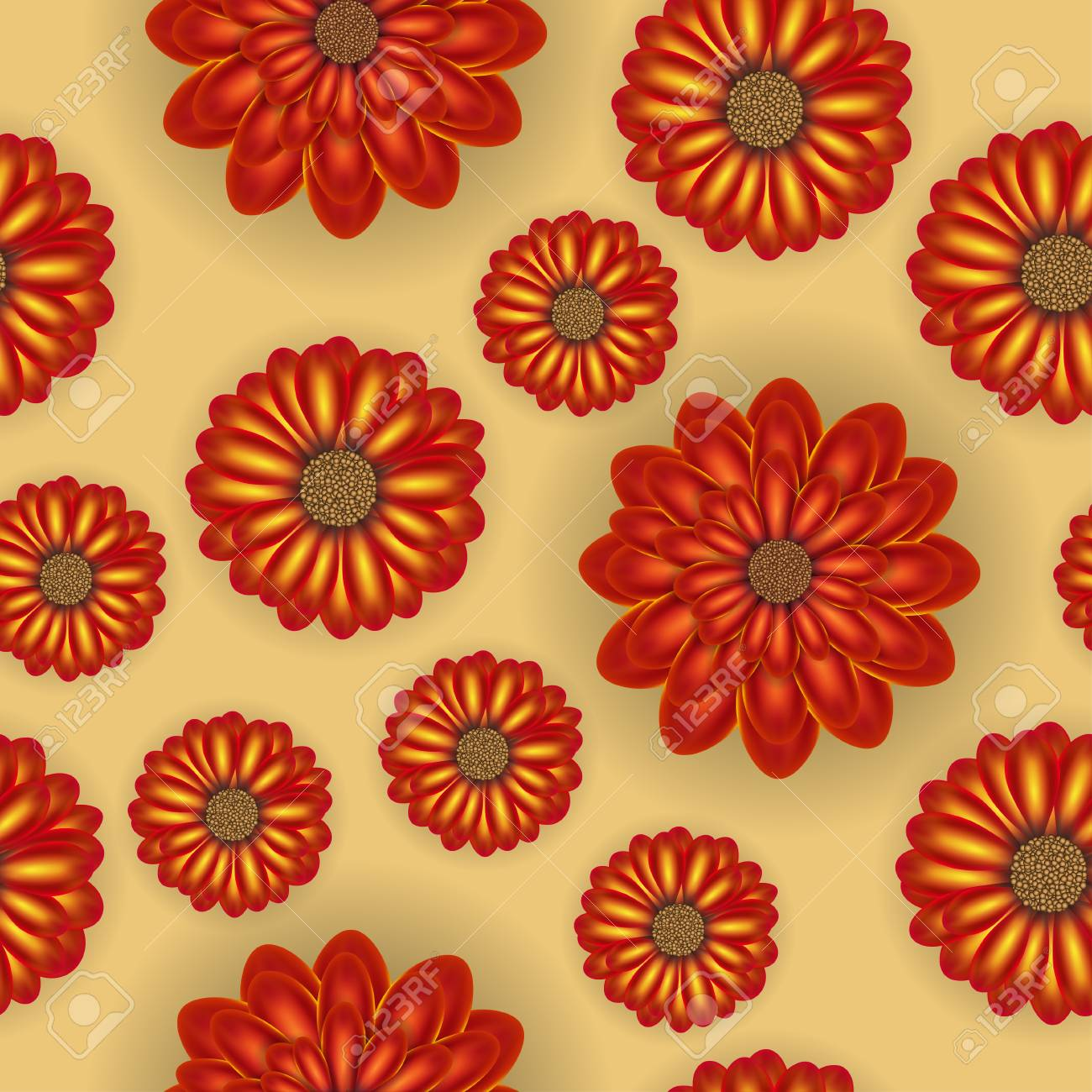 Beautiful seamless floral realistic colorful pattern. Flower vector illustration - 114806846
