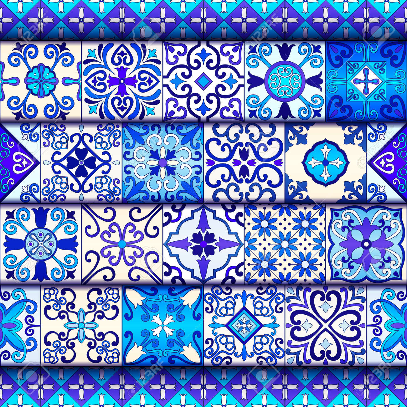 Portuguese tiles seamless pattern vector with blue and white ornaments. Talavera, azulejo, mexican, spanish or arabic motifs - 114806848