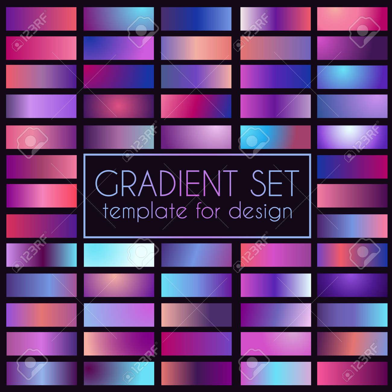 Multicolored bright gradient set. Template for design - 105794900
