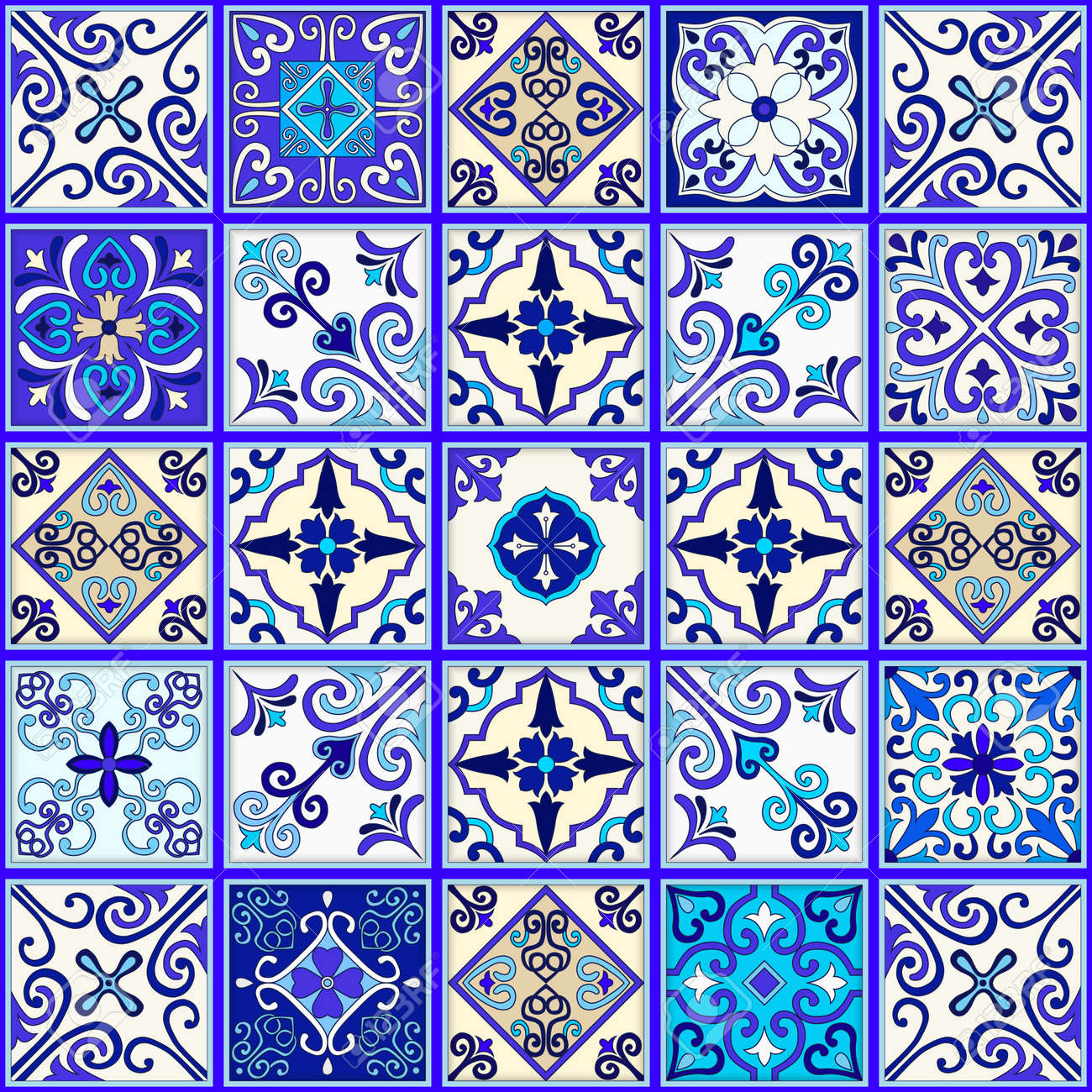 Portuguese tiles seamless pattern vector with blue and white ornaments. Talavera, azulejo, mexican, spanish or arabic motifs - 114806866