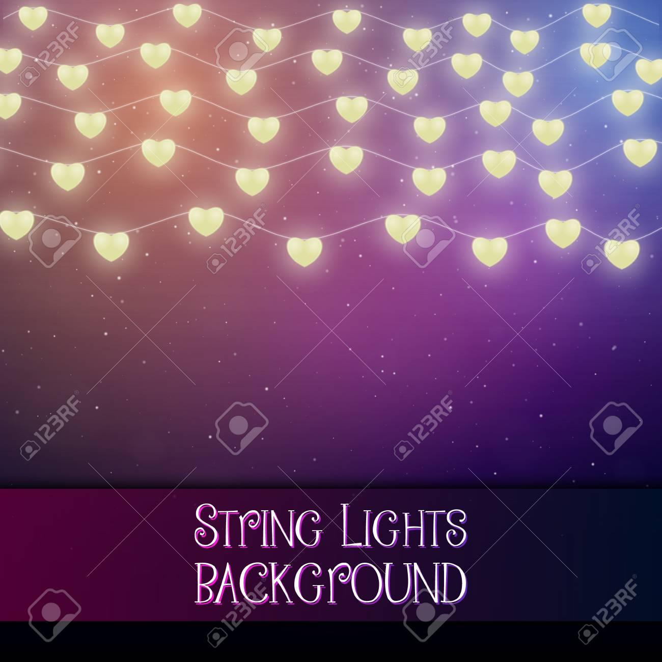 Dark background with decorative string lights. Bright shining light bulbs garlands - 114806868