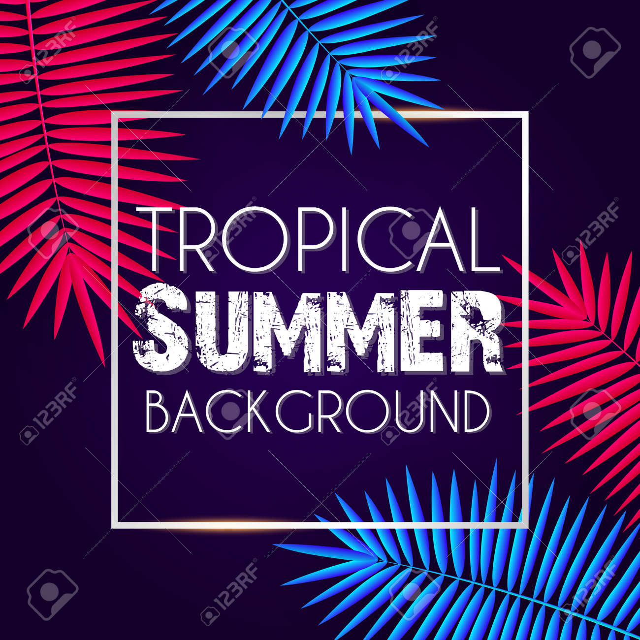 Tropical summer background with exotic neon bright colorful leaves with text space - 105214169