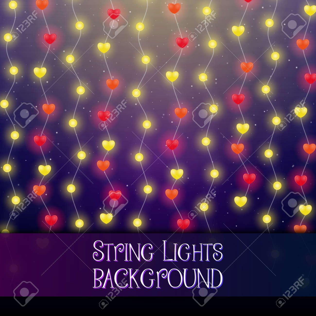 Dark background with decorative string lights. Bright shining light bulbs garlands - 114806871