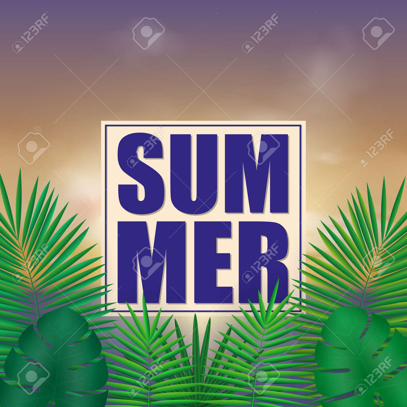 Tropical summer background with exotic green bright leaves with text space - 114806872
