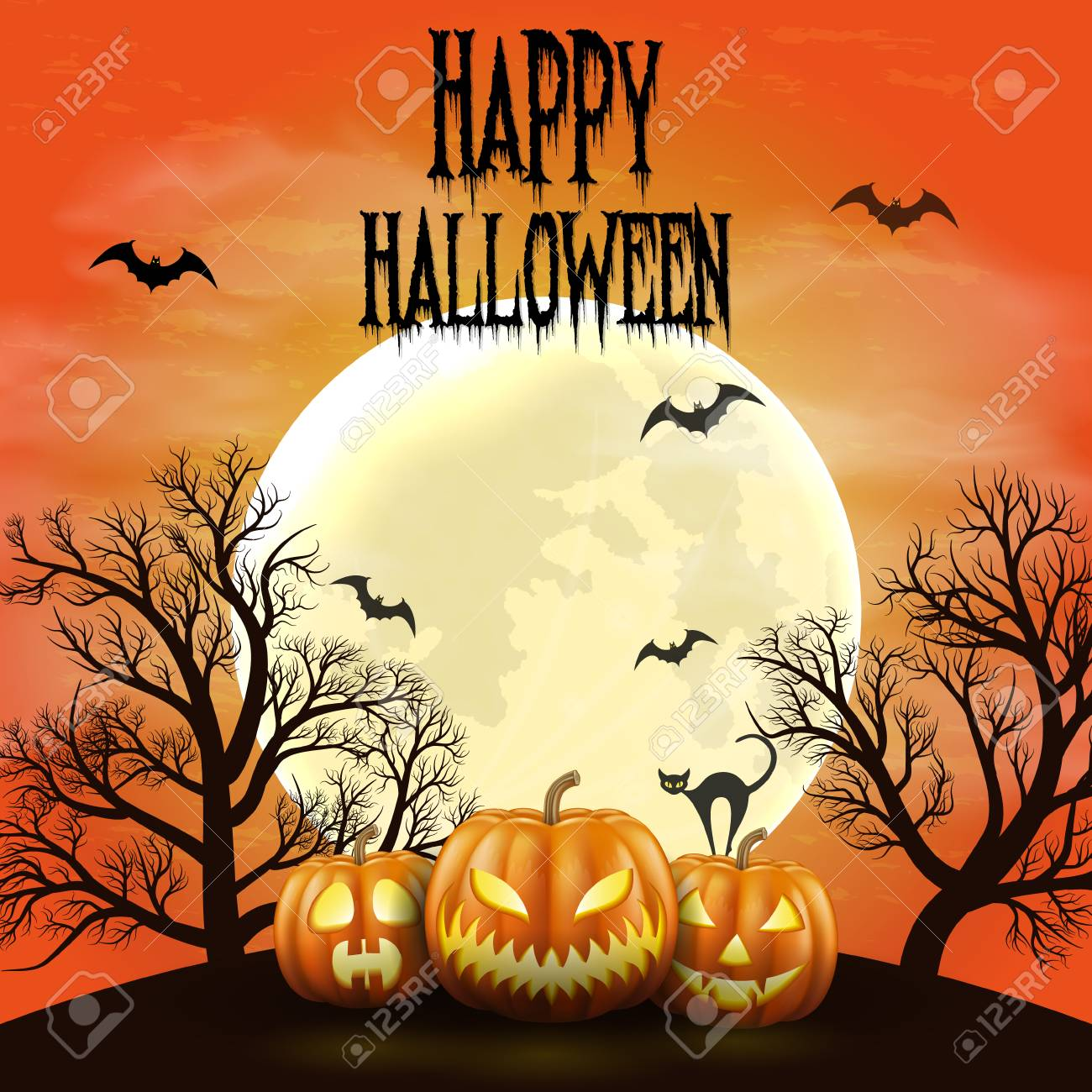 Happy Halloween night background with realistic scary pumpkins and moon. - 109879646