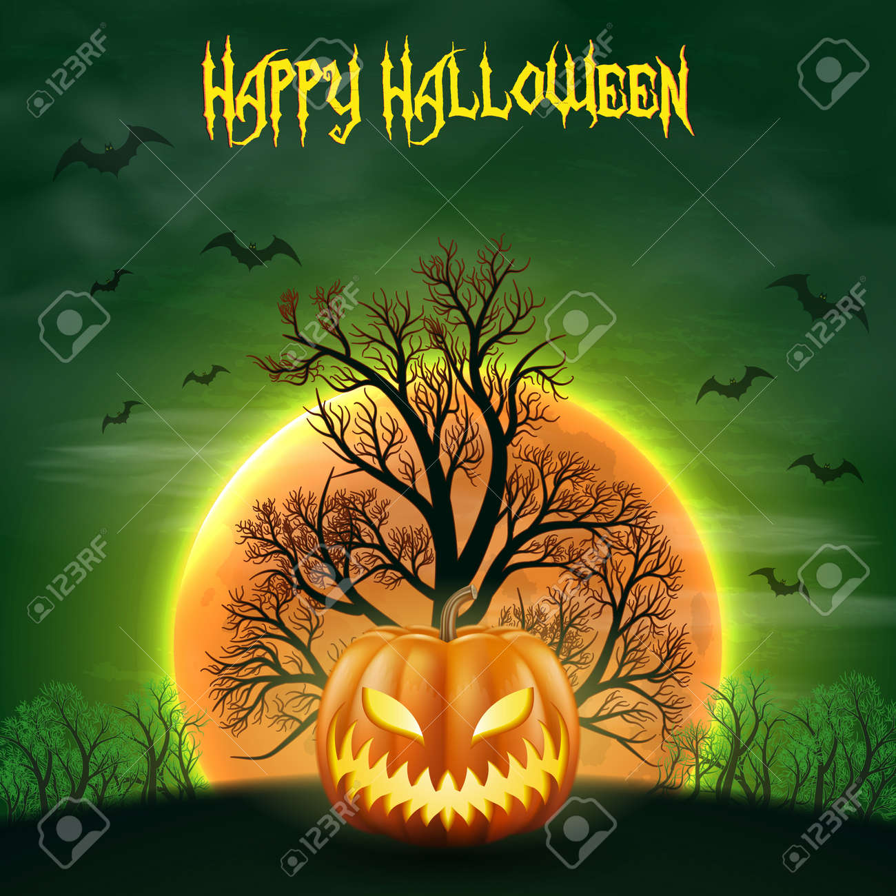 Happy Halloween night background with realistic scary pumpkins and moon. - 109879648