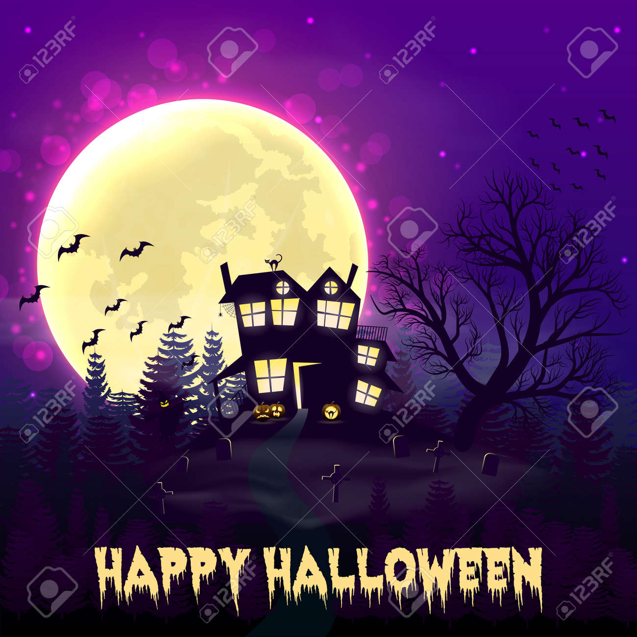 Happy Halloween night background with haunted scary house and full moon. - 109879651