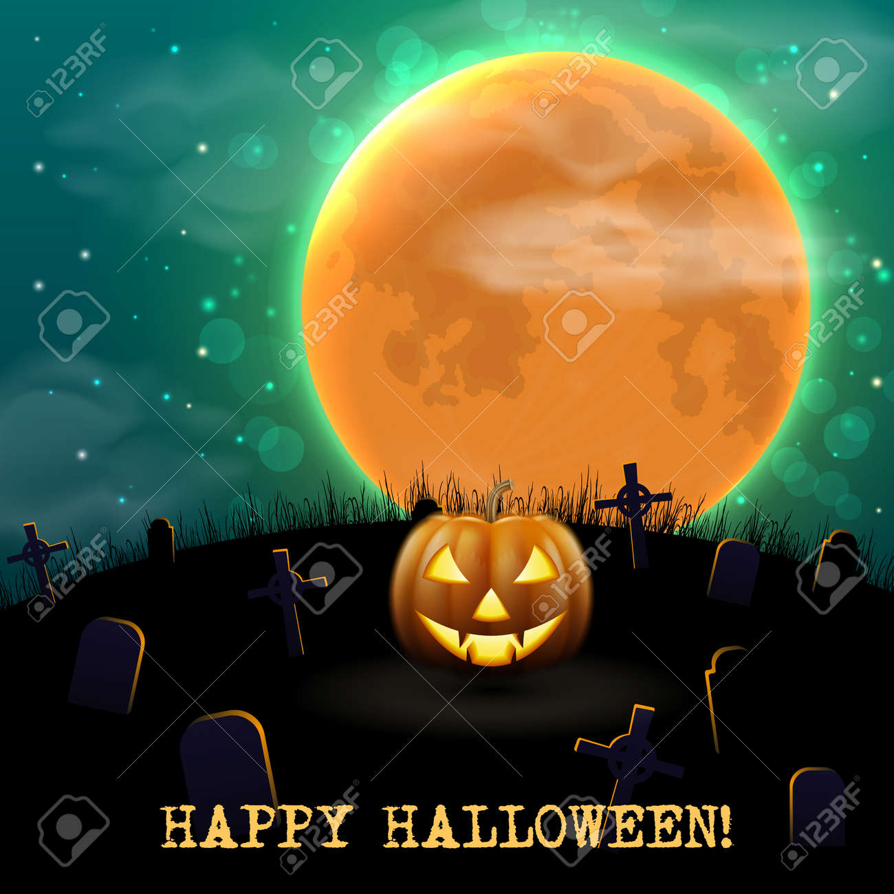 Happy Halloween night background with scary old graveyard and pumpkin - 109879652