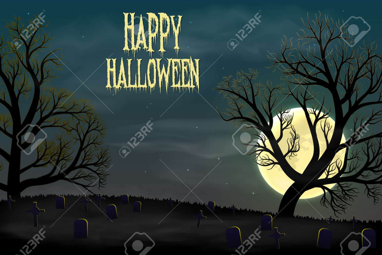 Happy Halloween background with graveyard, trees and moon. - 108431963