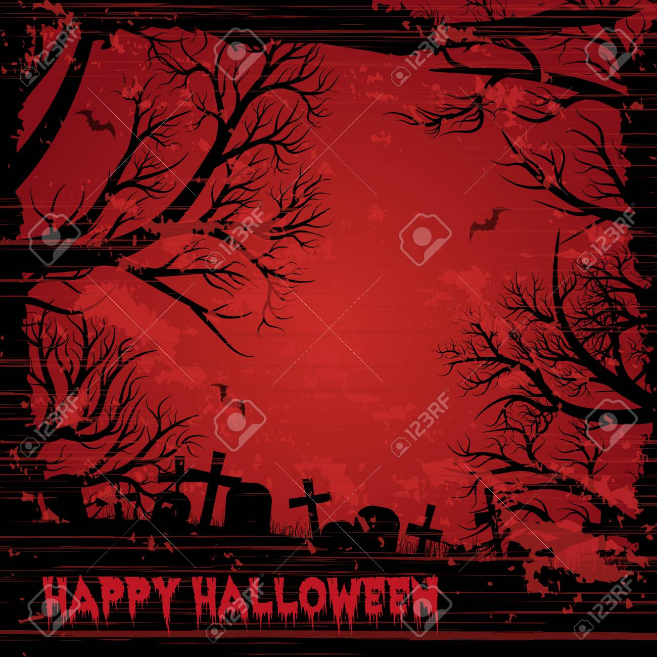 Happy Halloween night background with bloody red sky. Grunge style. - 109879659