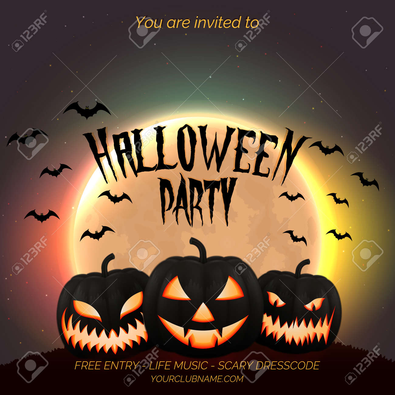 Halloween party poster, flyer template with dark pumpkins and moon background with place for text. - 109879662