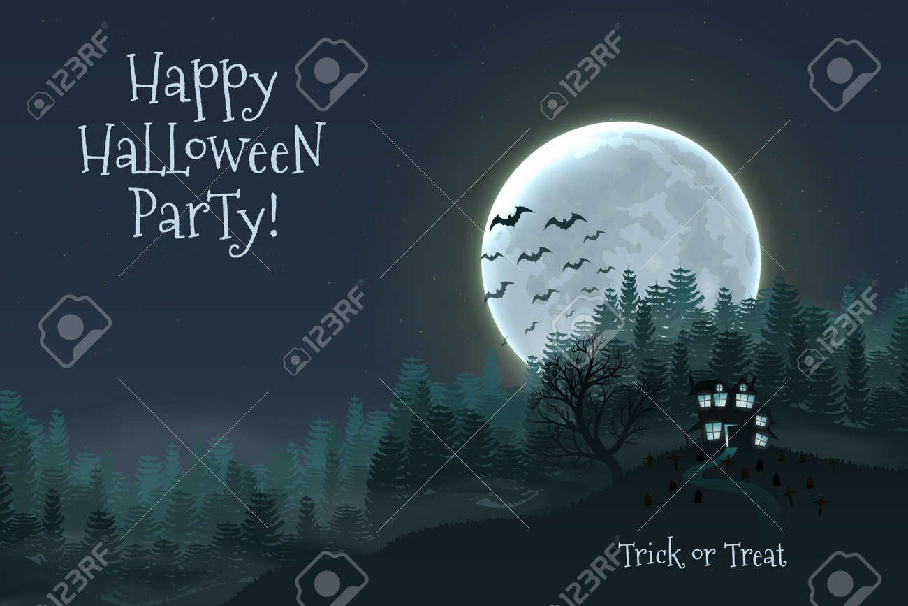 Happy Halloween night background with haunted scary house and full moon. - 109879664