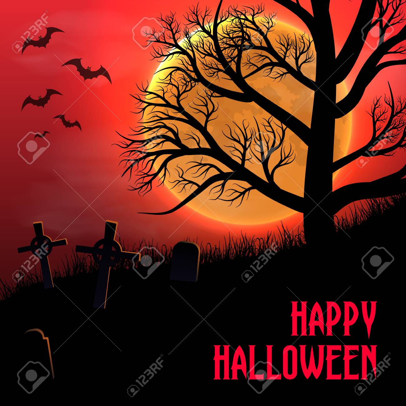 Happy Halloween background with graveyard, trees and moon - 109879666